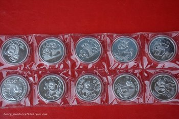 RARE Chinese government-issued United Nations level animal protection,Panda coin,10 pieces/pack,#03,Has a high collection value