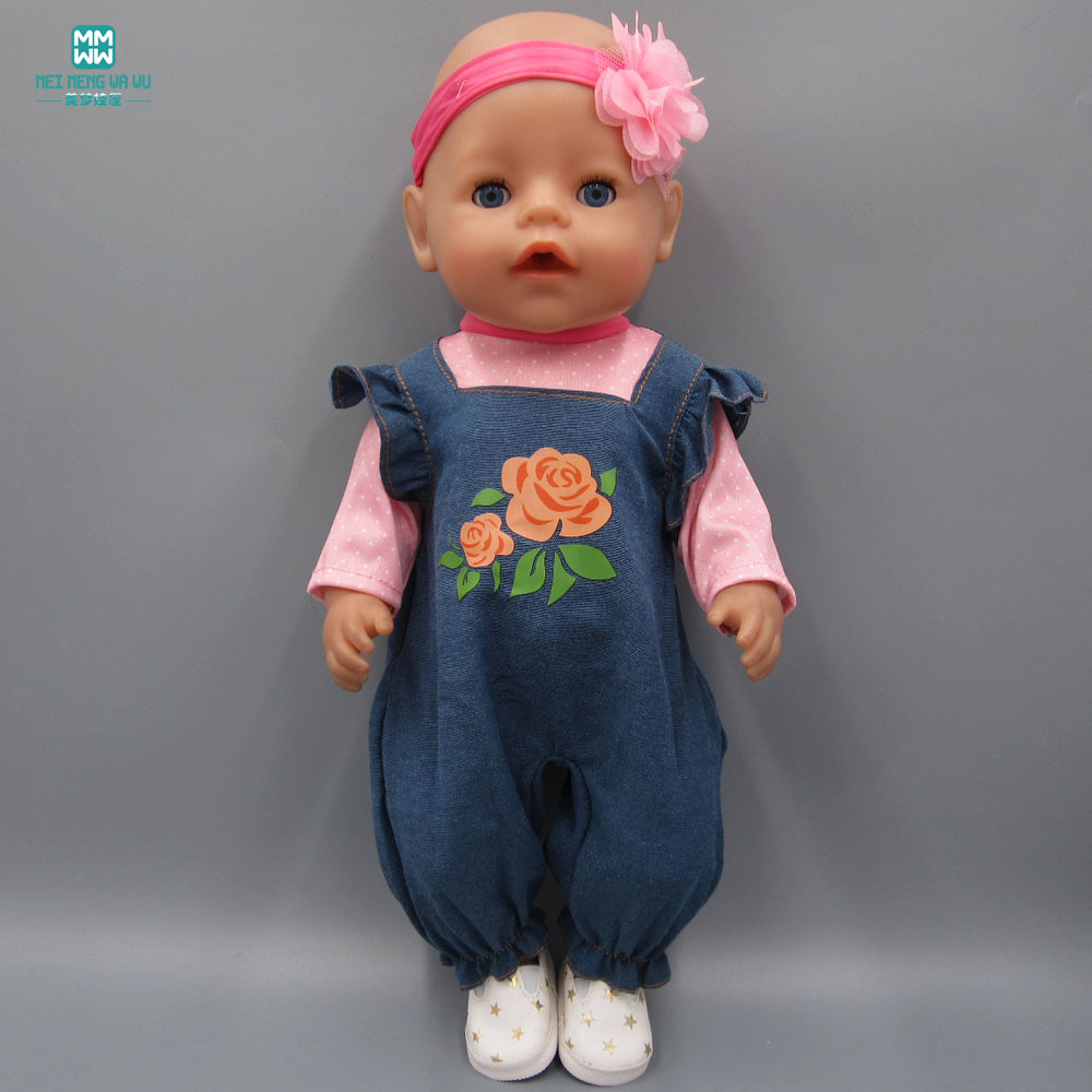 Baby Born Doll Clothes dress Fit 43cm Zapf Baby Born Doll Clothes Imitation denim crawling clothes + hair band