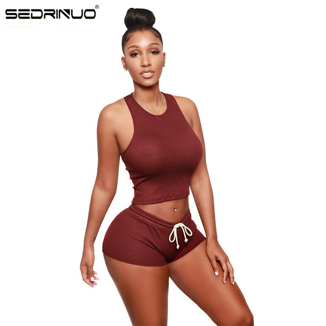 Women Sexy Sleeveless O Neck Crop Tank Top and Lace-UP Shorts Sets Sexy Bodycon Night club Knitting 2 Piece Sets Tracksuit