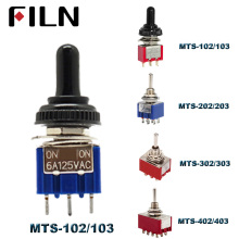 6A 120VAC mini 2 Position ON MTS-102 MTS-202 Toggle Switch 3 MTS-103 MTS-203 OFF With Waterproof Cap
