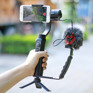 Image 4 - Smooth Q 4 Mic Stand L Bracket Camera Handle Grip for Zhiyun Smooth 4 DJI Osmo LED Light Rode Videomicro with 2 Hot Shoe Mounts
