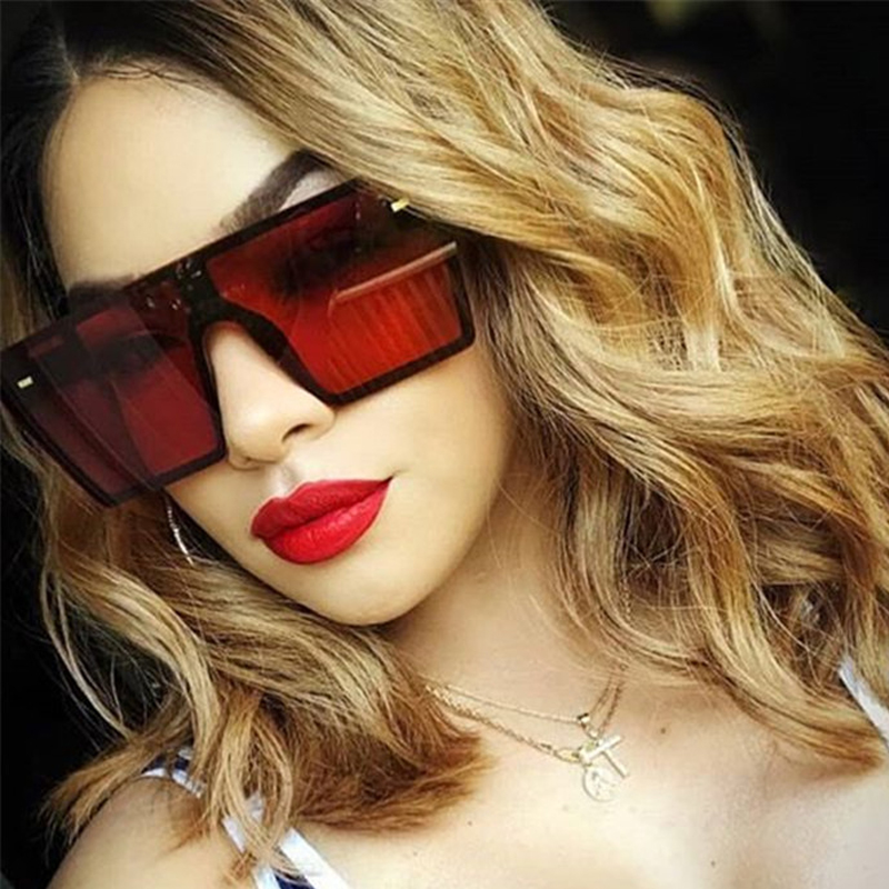 Oversized Square Sunglasses Women 2021 Luxury Brand Fashion Flat Top Red Black Clear Lens One Piece Men Gafas Shade Mirror UV400 2