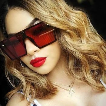 Oversized Square Sunglasses Women 2019 Luxury Brand Fashion Flat Top Red Black Clear Lens One Piece Men Gafas Shade Mirror UV400 2