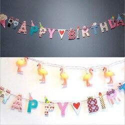 Happy Birthday Glücklich Partei DIY Brief Kunst und Handwerk Dekorative Papierfähnchen mit Gewinde für Urlaub und Geburtstag