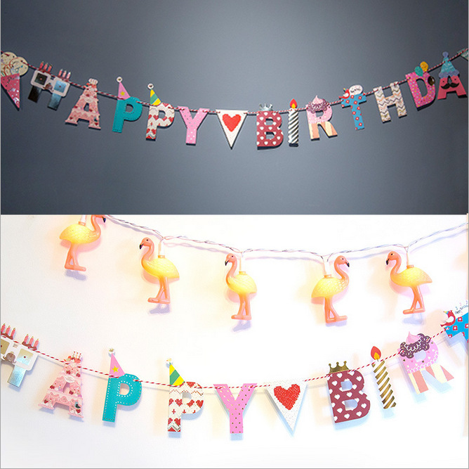 Happy Birthday Happy Party DIY Letter Arts and Crafts Decorative Paper Flags with Thread for Holiday and Birthday пистолет окрасочный three flags