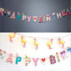 Happy Birthday Happy Party DIY Letter Arts and Crafts Decorative Paper Flags with Thread for Holiday and Birthday