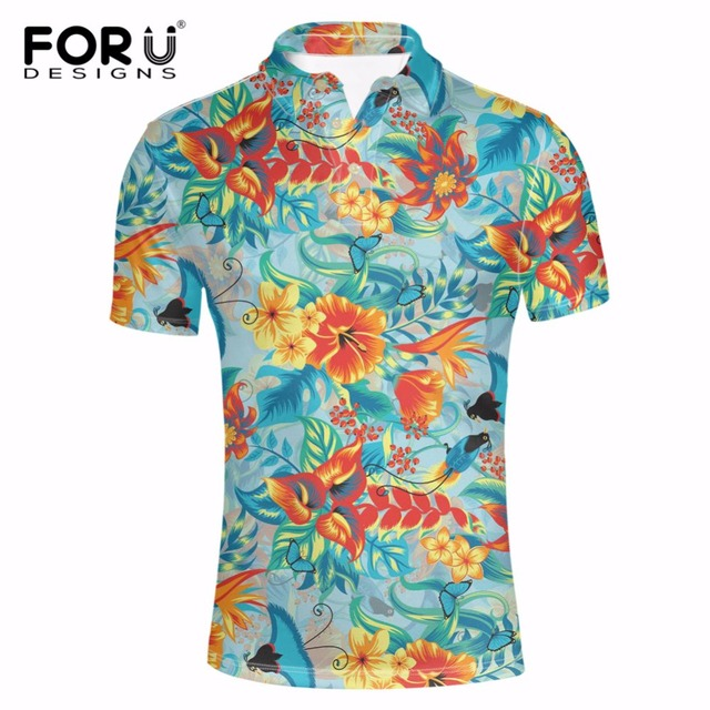 c76a2f2d8 FORUDESIGNS Summer Breathable Polos Shirt Men Fashion Hawaiian Design Short  Sleeve Polos Shirts for Man Male Tops Polos Shirts