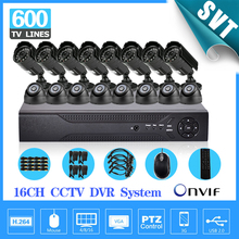 16 Ch 600TVL video Surveillance security Camera system h.264 DVR Recorder 16ch CCTV dvr kit for home surveillance SK-168