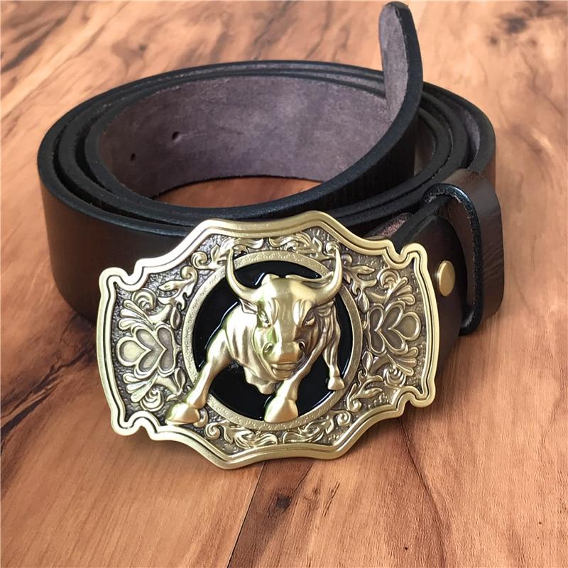 Brass Bull Cowboy Belt Buckle Men Belt Thick Genuine Leather Belt Men Ceinture Homme Cinturon Jeans Strap Waist Belt MBT0524