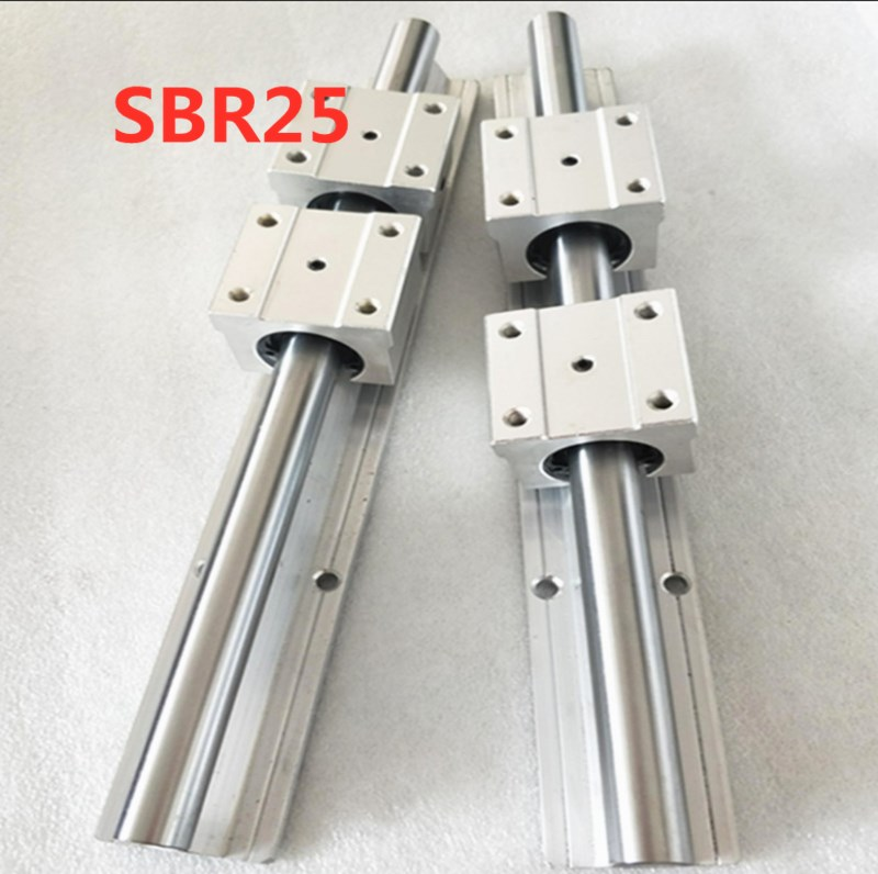 2pcs SBR25 - 1000mm 1100mm Linear Rail Guide + 4pcs SBR25UU Block2pcs SBR25 - 1000mm 1100mm Linear Rail Guide + 4pcs SBR25UU Block