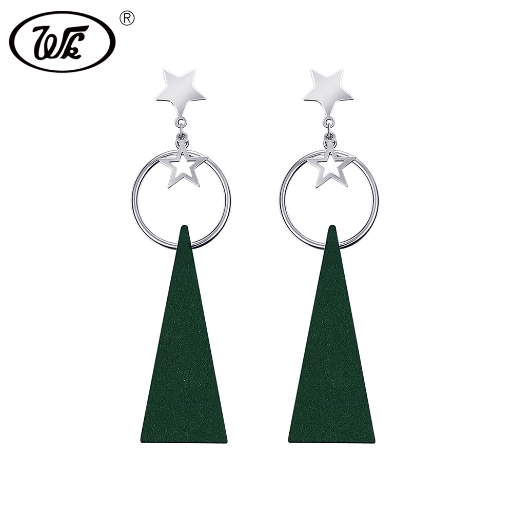 WK 925 Sterling Silver Geometric Circle Star Wooden Triangle Drop Earrings Long Bohemian Jewelry Women For Party Gift FF EB093 худи print bar джефф харди