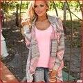 Largo drapeado Cardigan 2016 nueva moda atractiva floja Cardigans mujeres suéteres imprimir mantón del suéter Outwear la rebeca del paño
