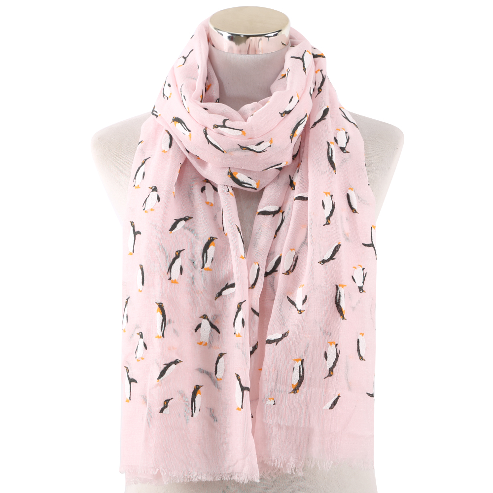 Winfox Pink Black Grey Female Lightweight Soft Neck Elegant Shawl Scarves Animal Print Penguin Scarf Women