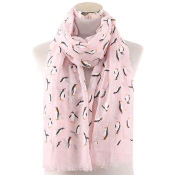 Winfox Pink Black Grey Female Lightweight Soft Neck Elegant Shawl Scarves Animal Print Penguin Scarf Women