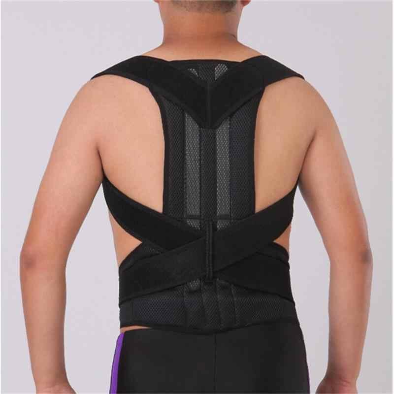 Unisex Adjustable Back Posture Corrector Brace Sport Safety Back Shoulder Support Belt Back Belt for Men Women Black S-2XL