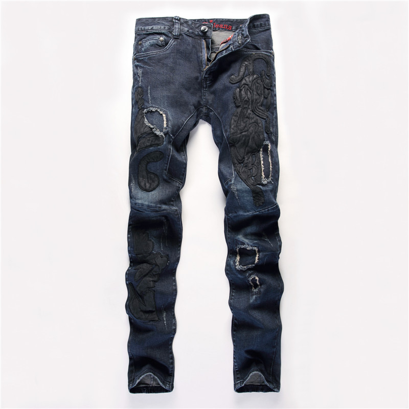 Patchwork Jeans Men Ripped Jeans Fashion Brand Scratched Biker Jeans Hole Denim Straight Slim Fit Casual
