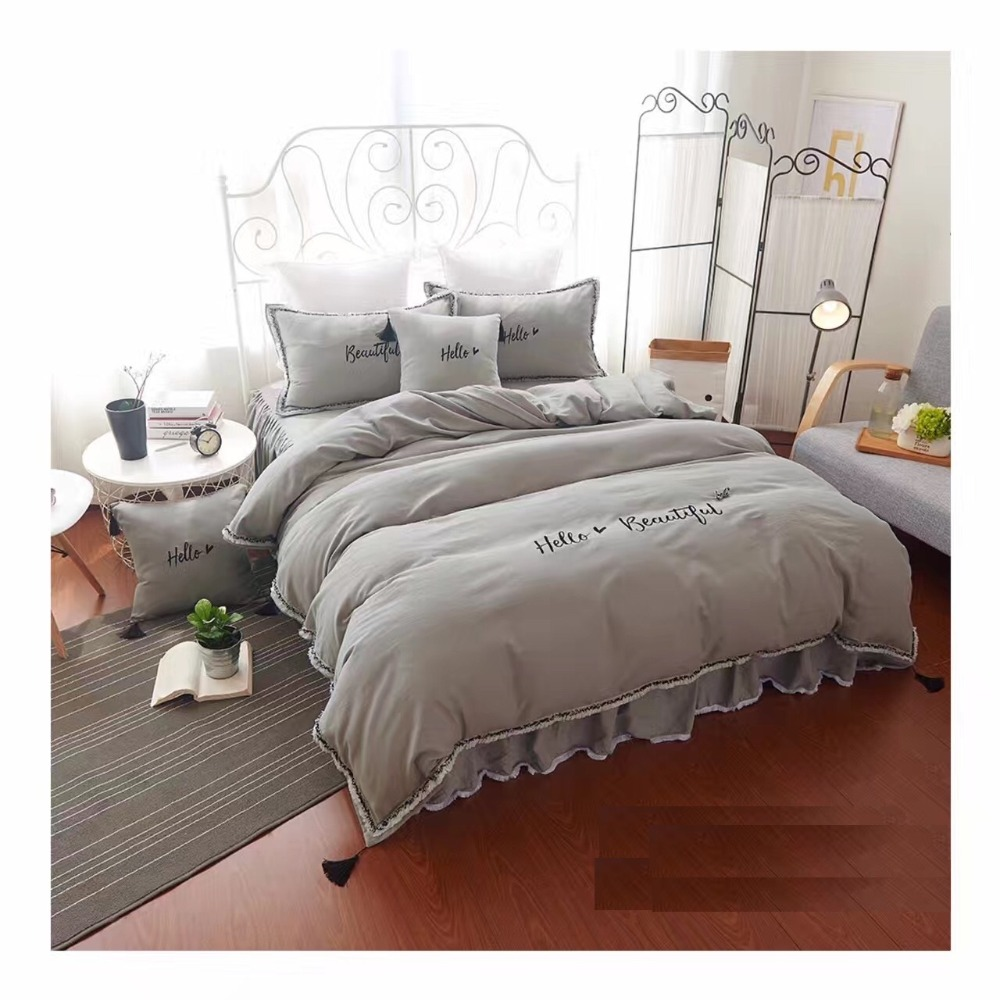 winter warm napping embroidery 4pcs bedding set pure cotton sanding duvet cover flatsheet. Black Bedroom Furniture Sets. Home Design Ideas