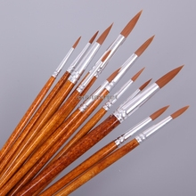 Paint-Brush Watercolor Acrylic Round Nylon 12pcs Pointed-Tip