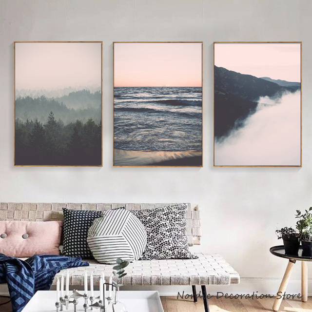 Forest Nordic Decoration Home Landscape Pink Posters And Prints Black White Wall Art Canvas Painting Pictures Unframed