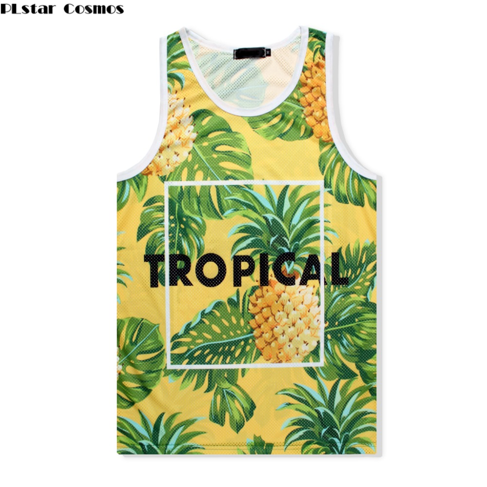 PLstar Cosmos Beach breathable mesh vest 2018 summer New Fashion 3d   Tank     tops   pineapple Print Men/Women Casual Vest