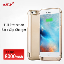 JLW 8000mAh Cell Phone Rechargeable Backup External Battery Case Power Case Cover for iPhone 6Plus 6s
