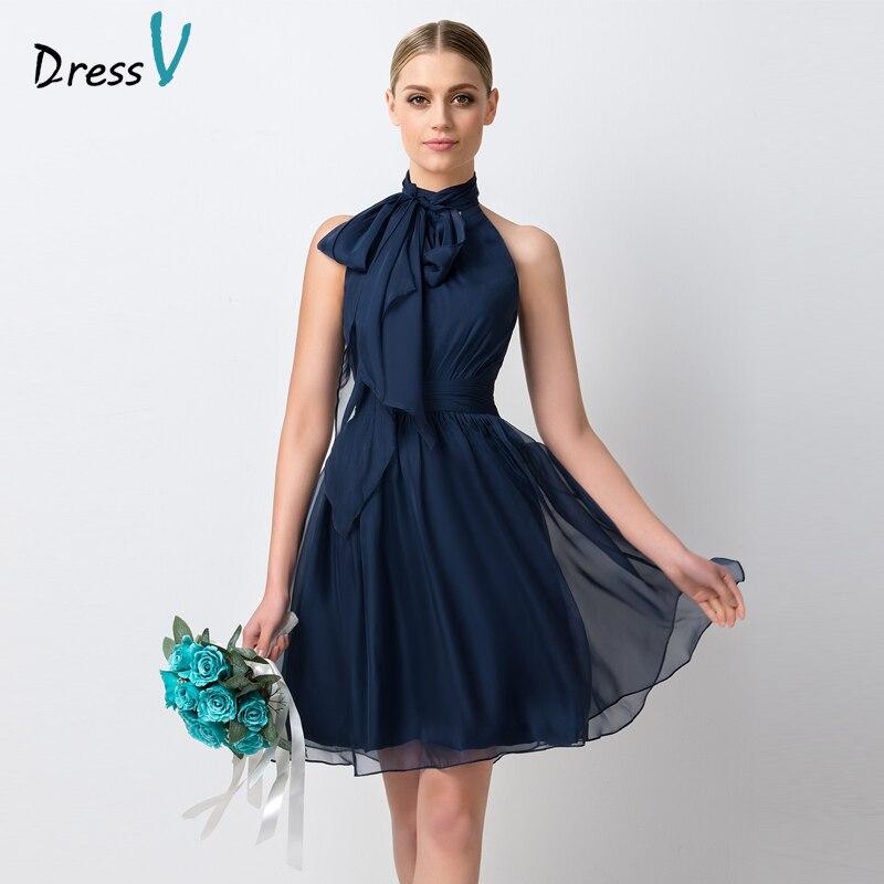 Dressv Marine Bleu Mousseline Demoiselle D'honneur Courte Robe 2017 Simple Genou longueur A-ligne Col Haut Ruches Demoiselle de Honor Robe Partie robes