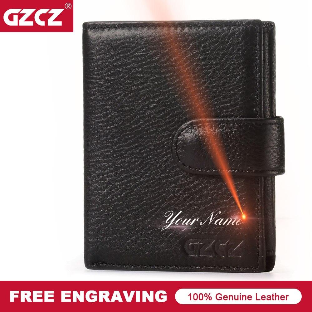 GZCZ New Wallet Genuine Leather Men Business Hasp Standard Wallets PURSE Man Purses Wallets Drop Shopping Money Bag Portomonee