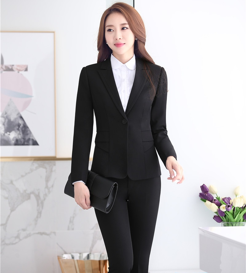 Fashion Styles Autumn Winter Formal Uniform Designs Women Business Suits Professional Pantsuits Office Ladies Work Wear Blazers