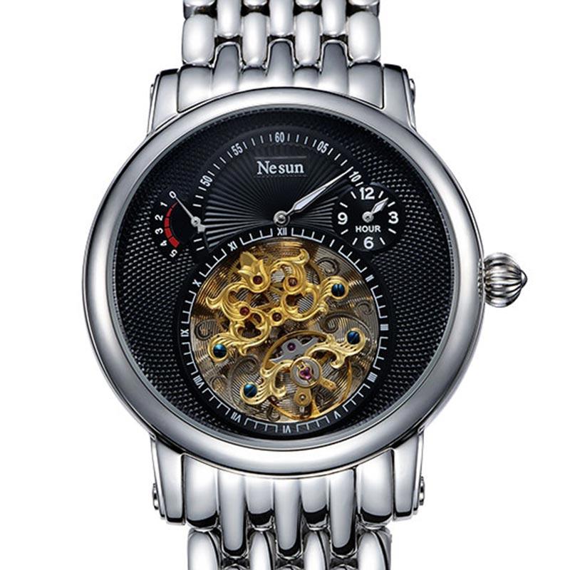 Suisse Marque De Luxe Nesun Creux Tourbillon Hommes Automatique Mécanique Hommes de Montres Saphir Étanche horloge N9081-1