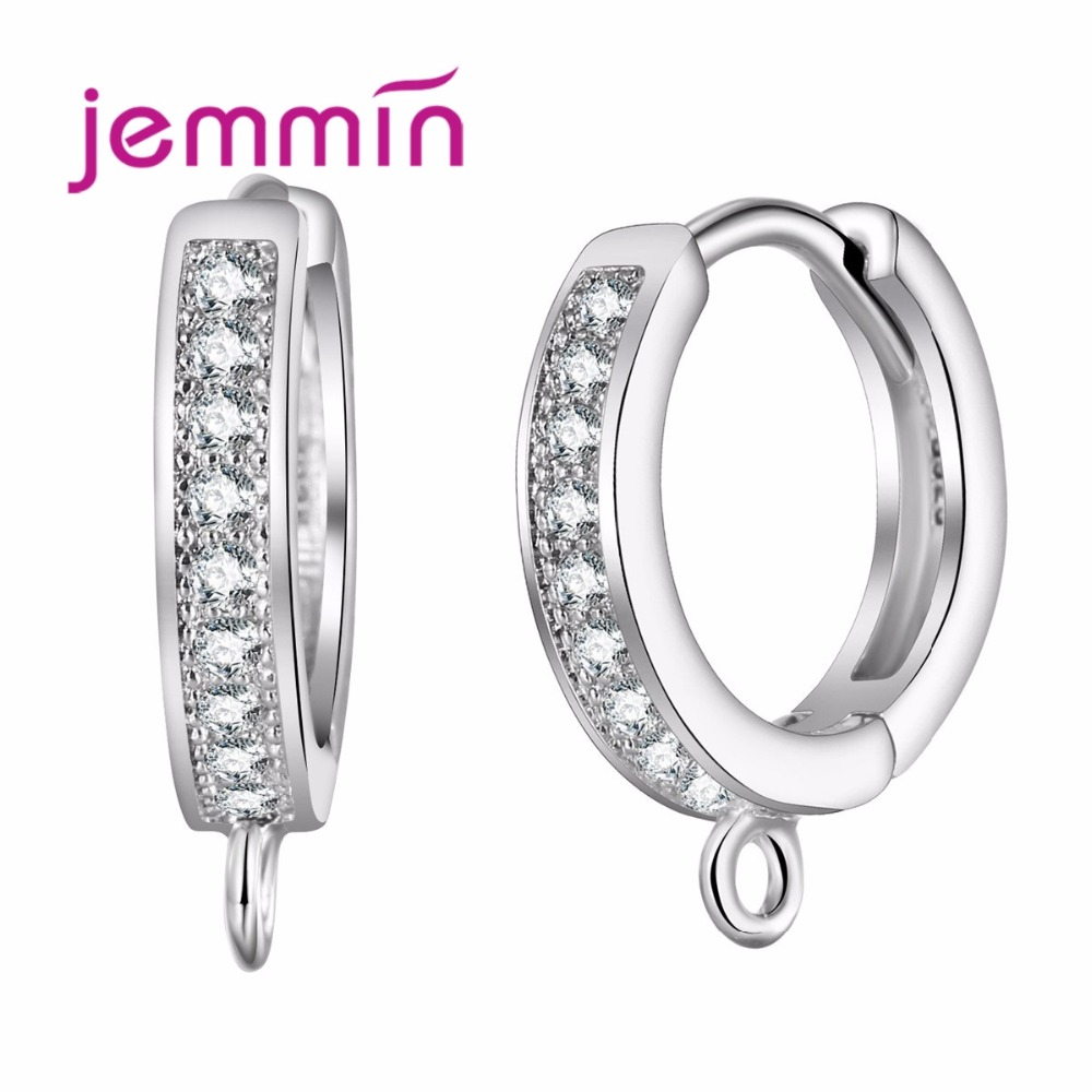 Jemmin 925 Sterling Silver Crystal Brand Jewelry Components Elegant Narrow Earrings for Women DIY Jewelry Accessories Best gift