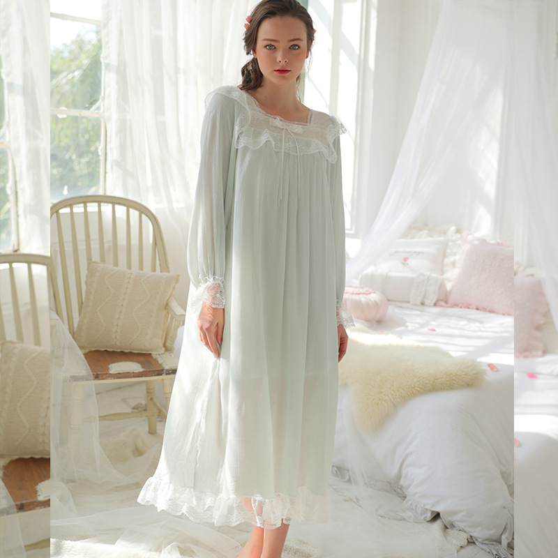 d5ca14f018 Sleep   lounge Light Blue Long Sleeve Bow Lace Night Dress Princess Style  Vintage Nightgown Women Sleepwear Cotton Negligee H603-in Nightgowns    Sleepshirts ...