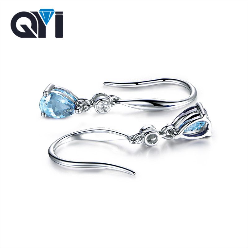 QYI Fashion Gemstone Natural Topaz Earrings 2.5 Ct Pear Cut Natural Sky Blue Topaz 925 Silver Dangle Earrings For Women diva 5 0ct natural swiss blue topaz sterling silver feather dangle earrings