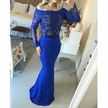 2016 Vintage Lange Abendkleid Mit Applikationen Und Perlen Royal Blue Lace Abendkleid Benutzerdefinierte vestido de festa gala jurken