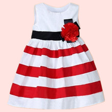 Summer New Fashion Toddler Kids Baby Girl Sleeveless Wide Stripe Dress