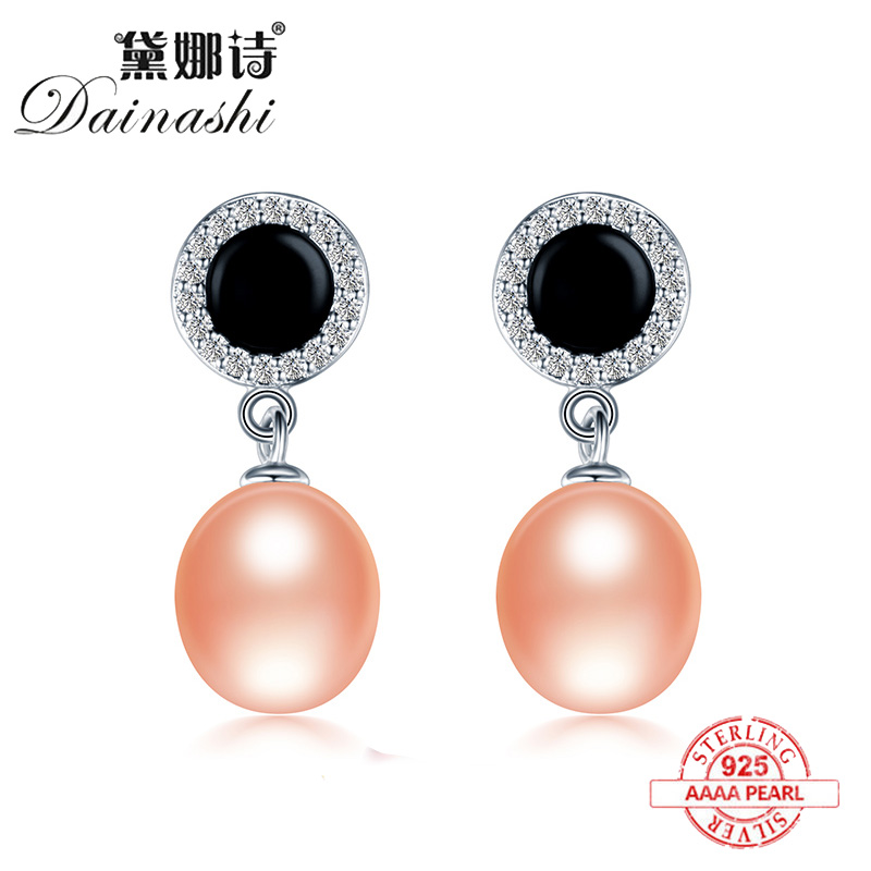 Dainashi Pearl Earrings Jewelry Studed Freshwater 925-Silver Gift AAAA Women with Sparkling