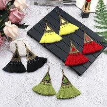 Bohemian Triangle Wool Long Tassel Earring for Women Vintage Ethnic Dangle Earrings Wedding Statement Jewelry Bijoux Femme