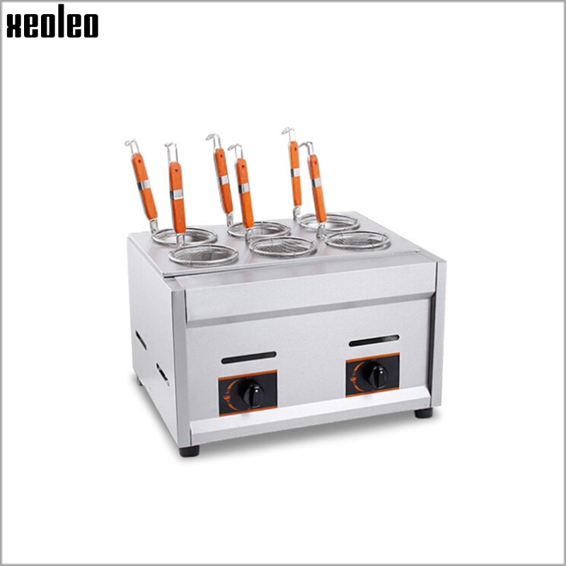 Xeoleo Commercial Gas Pasta Cooker Gas Noodle machine 6 Pots Stainless steel Pasta Boiler cooker 8L Deep Fryer vosoco commercial electric pasta cooker electric noodle machine 2000w stainless steel pasta boiler cooker electric heating furna