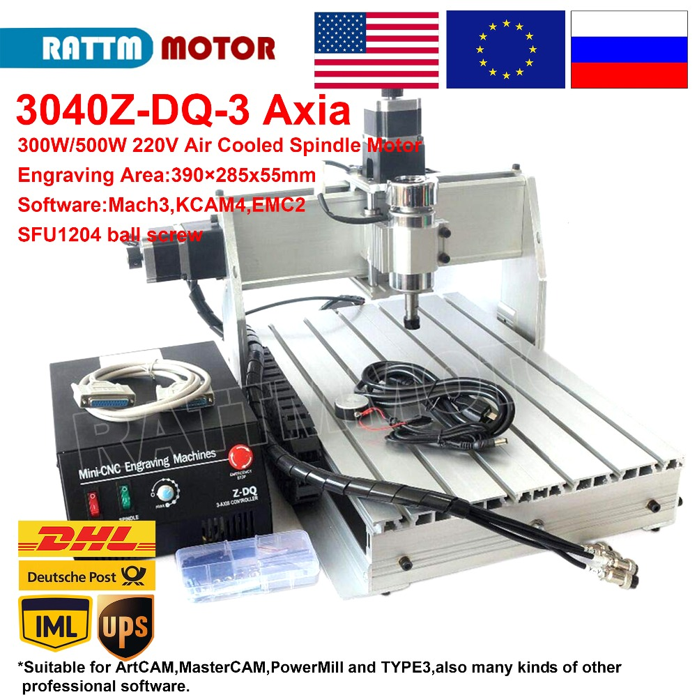 300W/500W CNC 3040Z-DQ Desktop Type 3 Axis Air Cooled 220V 110V ER11 CNC Router Engraving Machine LPT Parallel Port