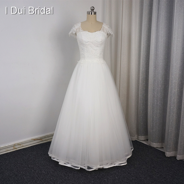 A line Cap Sleeve Wedding Dresses Ribbon Edge Delicate Beaded Square ...