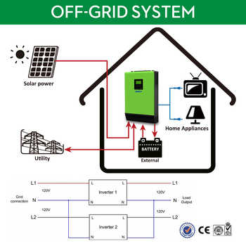 EASUN POWER 110V Grid Tie Solar Inverter 6KVA 24V Inverter 4000W MPPT Inverters Pure Sine Wave Hybrid Inverter 40A AC Charger