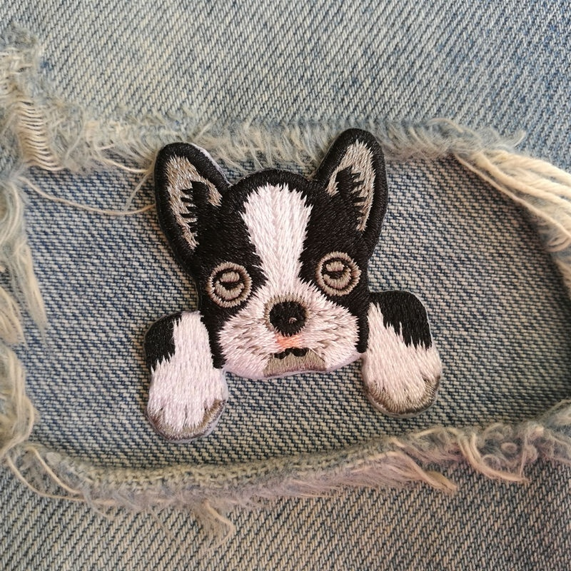 1 PIC 4.1*4.1CM Embroidery Subsidy Computer Embroidery Chapter Personality DIY BOSTONTERRIER DOG Badge Clothing Decorative Patch