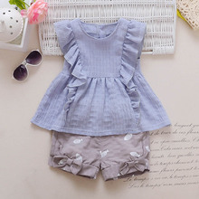 Summer baby Sets Girls Sweet T-shirts+Short Pants kids Clothing Sets Suits roupas de bebe