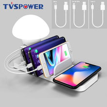 3 Port USB Fast Charging Phone Charger QC 3.0 Quick Charge Dock Mushroom LED Lamp Light Wireless for iphone X 8 Samsung