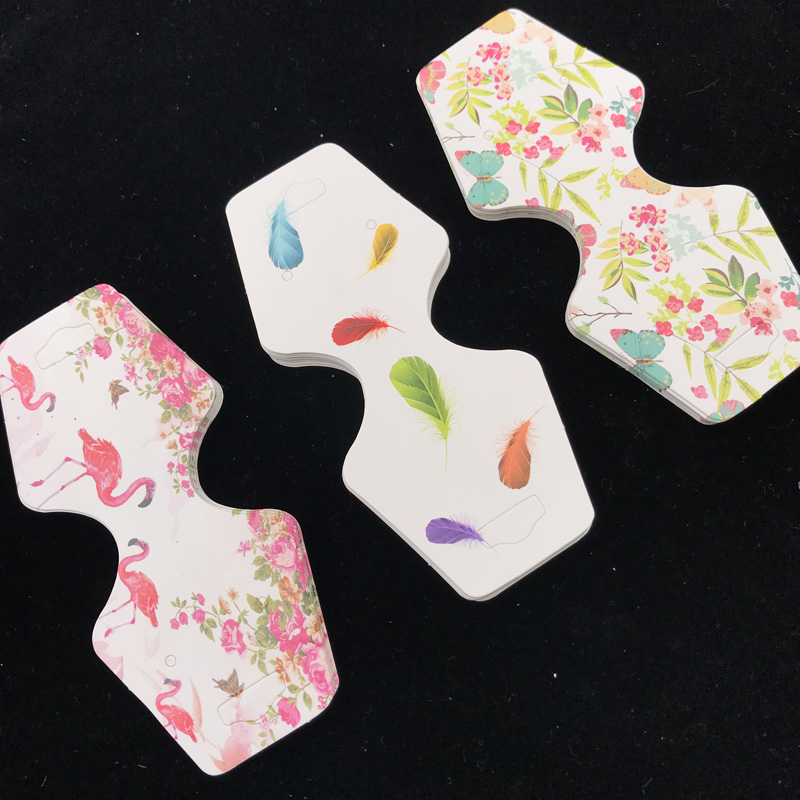 4.5x10cm Colorful Paper Cards Printing Jewelry Earring Necklace Bracelet Hang Tag 50pcs Jewelry Display Cards Label Tag