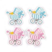 Синие/розовые милые деревянные пуговицы для детской коляски, ручная работа, скрапбукинг, 20 шт. 34x32 мм MT0593x