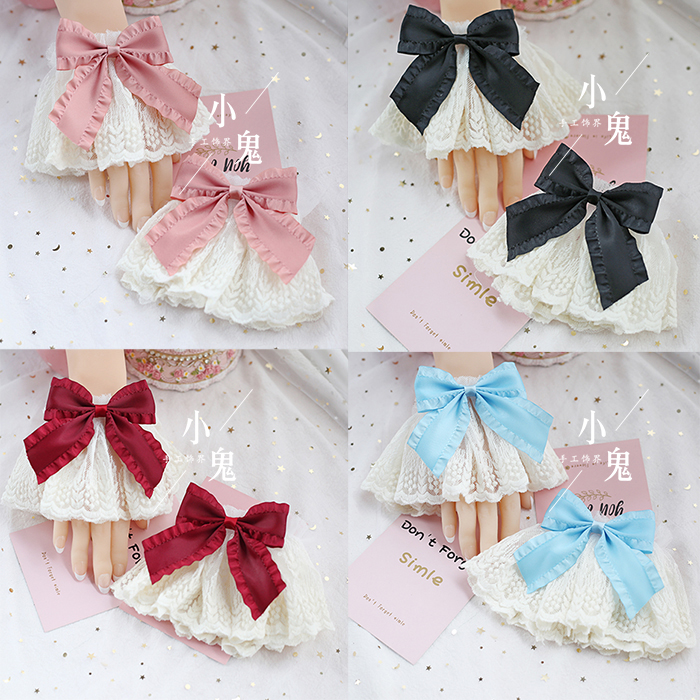 High Quality Hand Made White Lace Bowknot Flowers Mary Lolita Sleeve White Big Lovely Hand Sleeve Cos