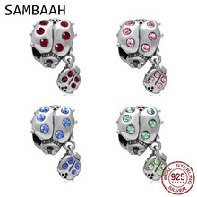 Sambaah Ladybug with Dangling Smaller Charm Crystal 925 Sterling Silver Ladybird Beads fit Pandora Animal Bracelet