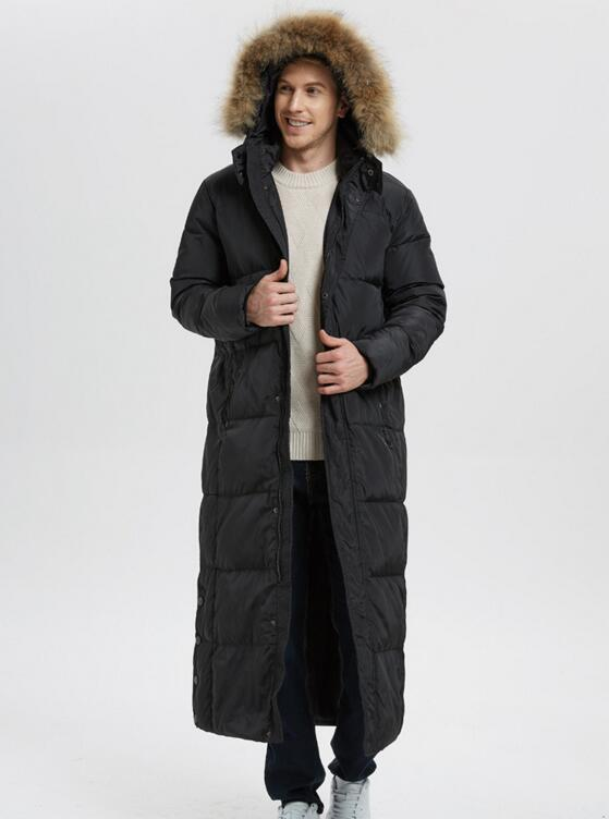 Hooded Fur Trim Collar Men's   Down     Coat   Winter Warm Long   Down   Jacket   Coat   With Fur Trim Hooded Men   Down   Jacket