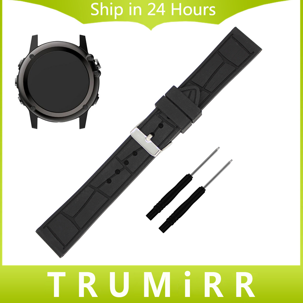26mm Silicone Rubber Watchband + Tool for Garmin Fenix 3 / HR / X5 Smart Watch Band Replacement Strap Wrist Belt Bracelet Black canvas nylon watchband tool for garmin fenix 5 forerunner 935 fr935 leather watch band sports strap steel buckle bracelet