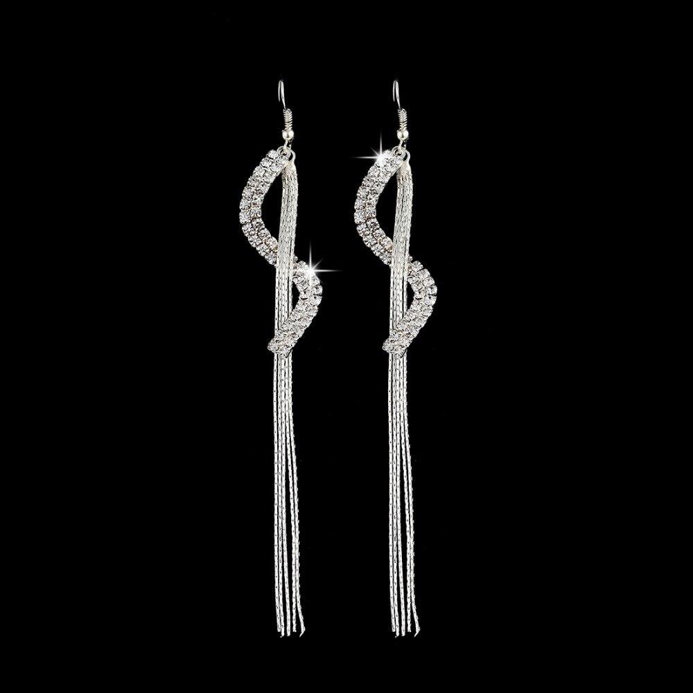 ZOSHI 2018 New Fashion Statement Drop Earrings Women Fashion Jewelry S Silver Plated Tassel Long Dangle Earrings Wedding Jewelry